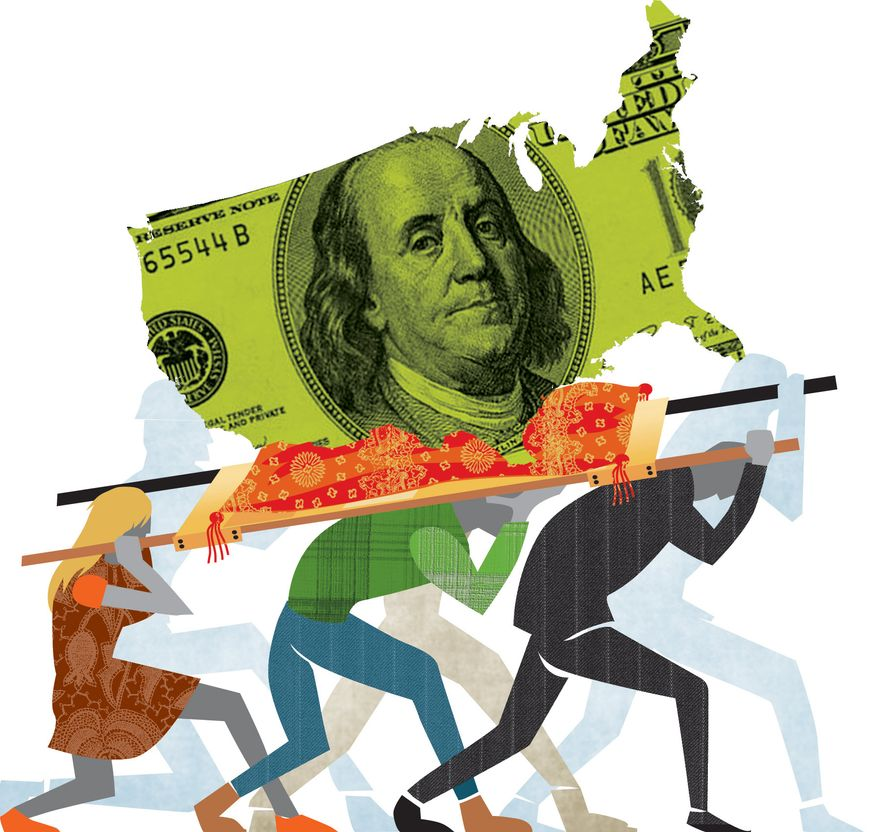 Illustration: Tax burden by Linas Garsys for The Washington Times