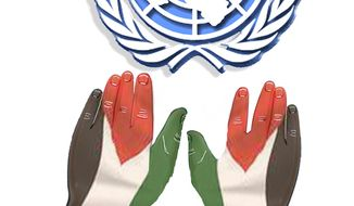Illustration: UN and Palestine by John Camejo for The Washington Times
