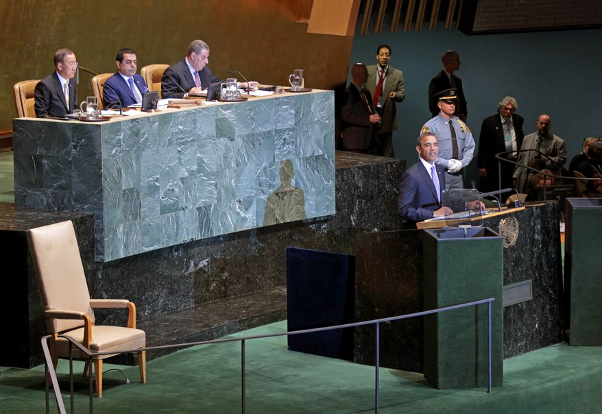 ** FILE ** President Obama addresses the U.N. General Assembly at the United Nations headquarters on Wednesday, Sept. 21, 2011. (AP Photo/Pablo Martinez Monsivais)