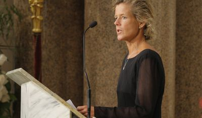 ** FILE ** Kara Kennedy speaks during funeral services for her father, Sen. Edward M. Kennedy, at the Basilica of Our Lady of Perpetual Help in Boston in August 2009. (AP Photo/Brian Snyder, Pool, File)