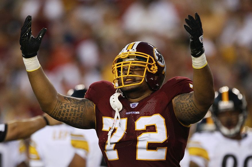 Washington Redskins defensive end Stephen Bowen will play his former team, the Dallas Cowboys, on Monday, but it's the health of his infant son that has him smiling. (AP Photo/Patrick Semansky, File)