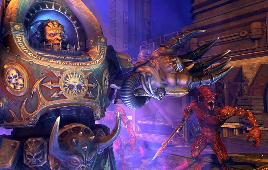 Meet the Forces of Chaos in the video game Warhammer 40,000: Space Marine for the Xbox 360.