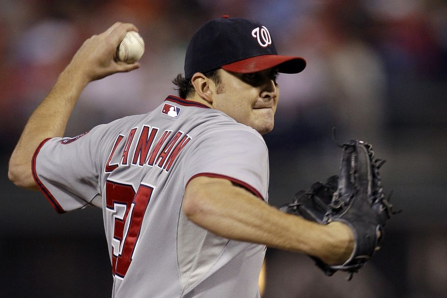 John Lannan of the Washington Nationals finished the year with a 10-13 record, 3.70 ERA and 1.46 WHIP. (AP Photo/Matt Slocum)