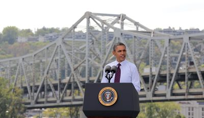 President Obama delivers remarks at the Brent Spence Bridge, regarding his American Jobs Act Now legislation on Sept., 22, 2011, in Cincinnati. (Associated Press)