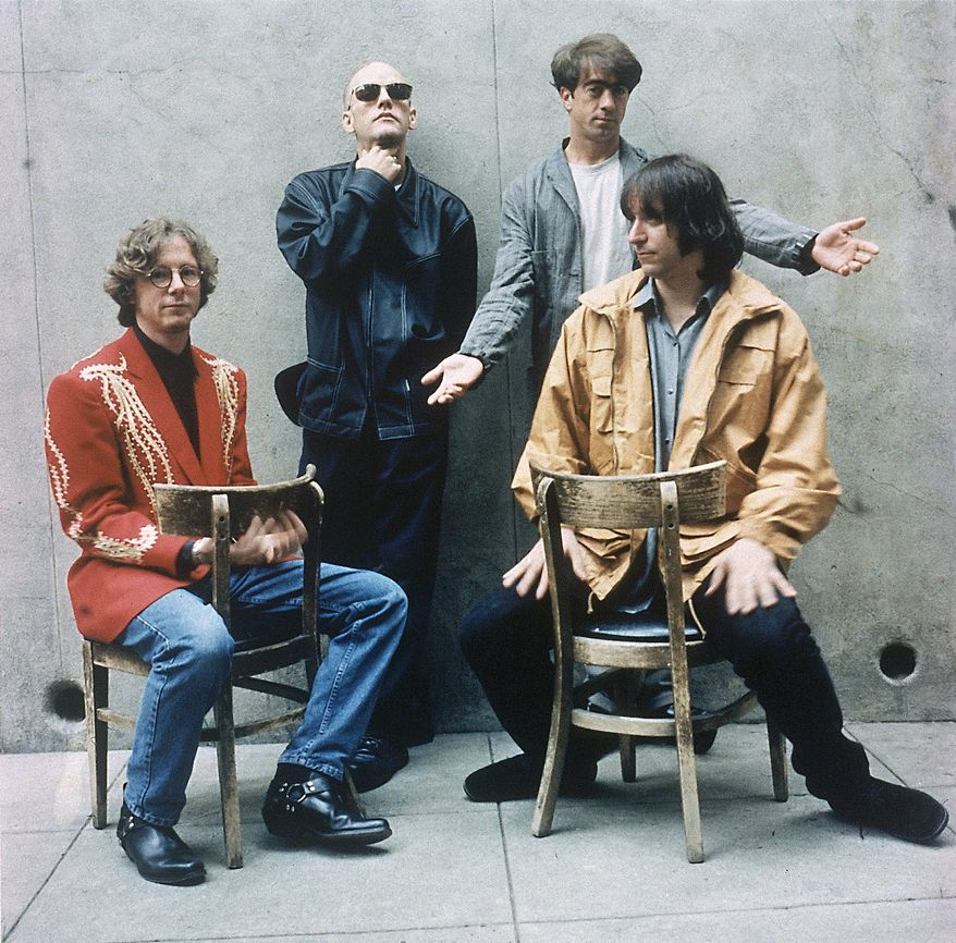 "** FILE ** In this 1994 file photo originally released by Warner Bros. Records, alternative rock band R.E.M., from left, Mike Mills, Michael Stipe, Bill Berry, and Peter Buck are shown when they released their new album ""Monster."" The band announced Wednesday, Sept. 21, 2011, on their website that they are breaking up. (AP Photo/Warner Bros.)"