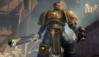 Captain Titus is always looking for a fight in the video game Warhammer 40,000: Space Marine for the Xbox 360.