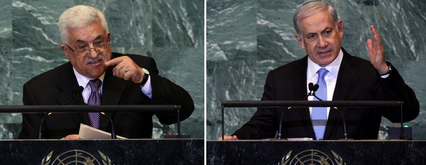 Palestinian President Mahmoud Abbas (left) addresses the 66th session of the United Nations General Assembly at United Nations headquarters on Sept. 23, 2011. Israeli Prime Minister Benjamin Netanyahu addressed the assembly shortly after Abbas. (Associated Press)