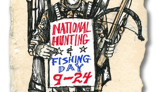 Illustration: Hunting & Fishing Day by John Camejo for The Washington Times
