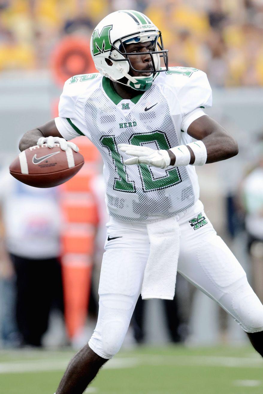 Marshall freshman QB Rakeem Cato figures to have a rough day against Virginia Tech's defense. (AP Photo/Jeff Gentner)