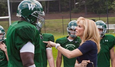 "Lower-budget box office winners include ""The Blind Side"" with Quinton Aaron and Sandra Bullock."