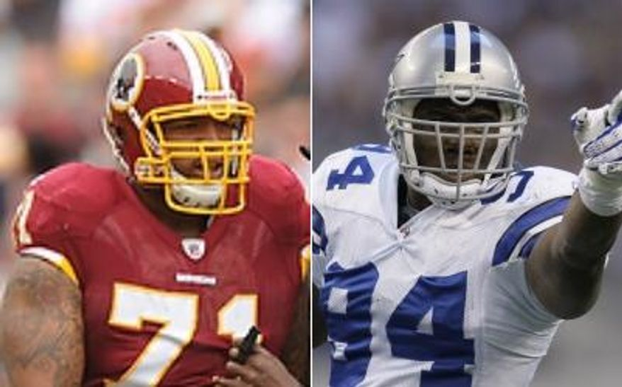 Washington Redskins offensive tackle Trent Williams knows that he will have a tough time containing Dallas Cowboys Pro Bowl defensive end DeMarcus Ware on Monday night. (Andrew Harnik/The Washington Times)-(AP Photo/Tony Gutierrez)