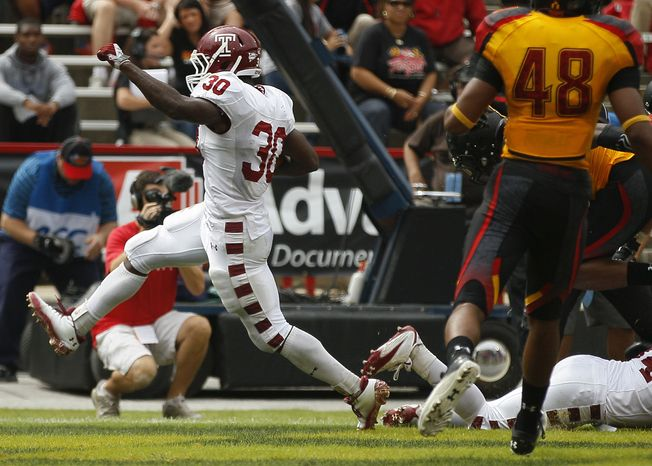 Temple running back Bernard Pierce had five touchdowns in Temple's 38-7 win against Maryland. (AP Photo/Patrick Semansky)