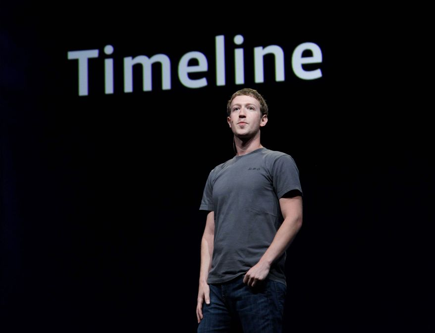 """Facebook chief Mark Zuckerberg talks about Timeline at a developers conference Sept. 22 in San Francisco. Users can share their choices of music, movies, games and news sources with their friends as part of what the Facebook website describes as a new way to """"tell your life story with a new kind of profile."""" (Associated Press)"""
