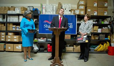 CAMPAIGN BUSINESS: Shawn Mitchell uses his business, Modern Mechanical in Ashburn, Va., to announce the endorsements of state Sens. Louise L. Lucas (left) and Mary Margaret Whipple in his bid for a Virginia Senate seat. (Rod Lamkey Jr./The Washington Times)