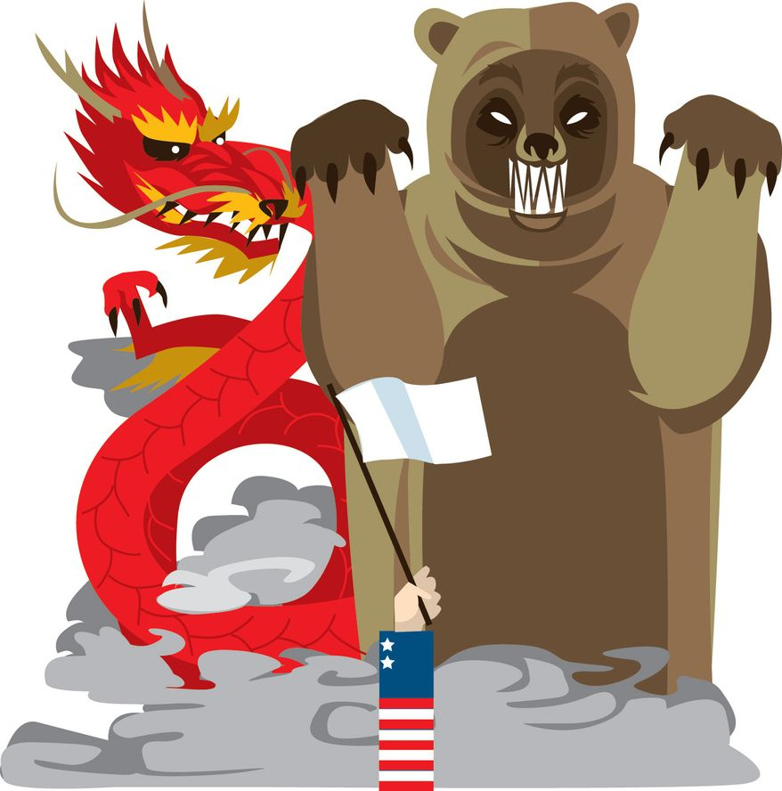 Illustration: Foreign policy by Linas Garsys for The Washington Times