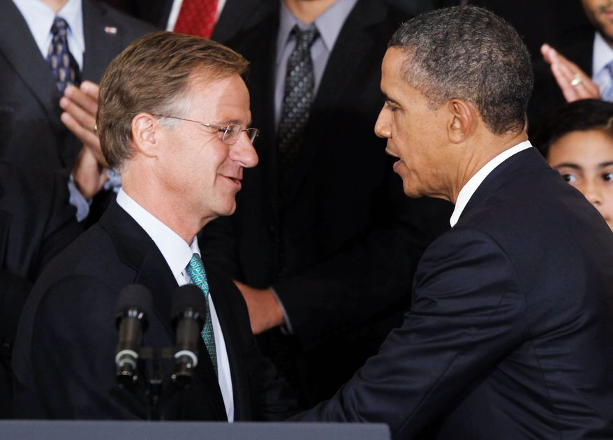 """** FILE ** In this 2011 file photo, Tennessee Gov. Bill Haslam (left) voiced his support for President Obama's education reform proposal, which frees states from the """"failing"""" schools designation and other mandates of the Bush-era No Child Left Behind law. (Associated Press)"""