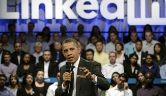 President Obama gestures Sept. 26, 2011, during a LinkedIn town hall at the Computer History Museum in Mountain View, Calif. (Associated Press)