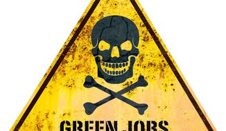 Illustration: Green jobs by Greg Groesch for The Washington Times