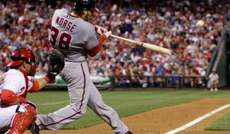 Nationals slugger Michael Morse was a career utility player until taking over at first base for Adam LaRoche, who suffered a season-ending shoulder injury. He hit his 31st home run of the season Tuesday against Florida. (Associated Press)