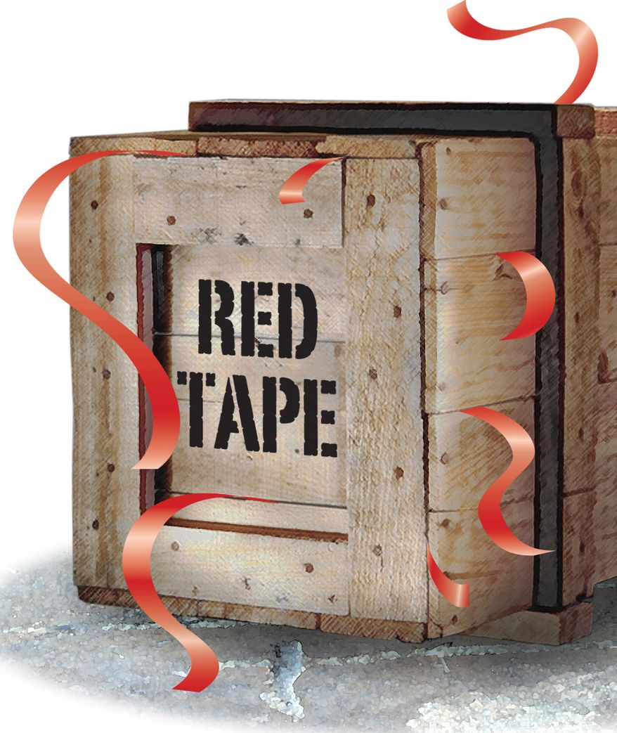 Illustration: Red tape by Greg Groesch for The Washington Times