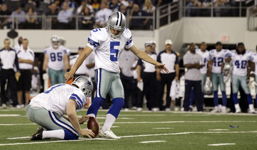 Dallas Cowboys kicker Dan Bailey kicks the game-winning field goal against the Washington Redskins on Monday, Sept. 26, 2011, in Arlington, Texas. The Cowboys won 18-16. (AP Photo/Tony Gutierrez)