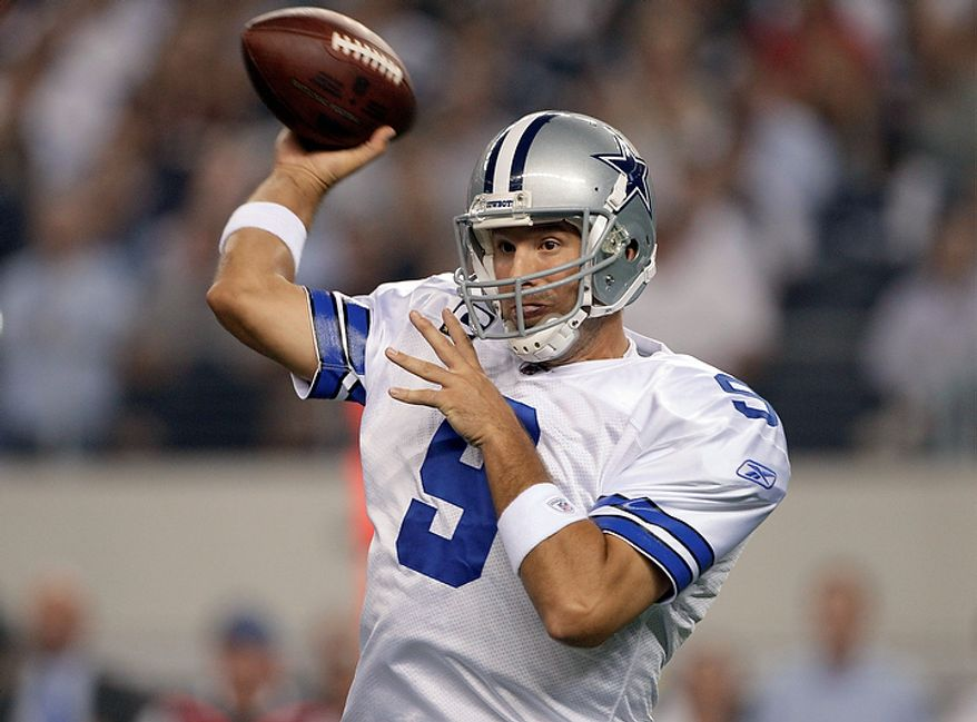 Dallas Cowboys quarterback Tony Romo passes against the Washington Redskins during the first half of an NFL football game Monday, Sept. 26, 2011, in Arlington, Texas. (AP Photo/Tony Gutierrez)