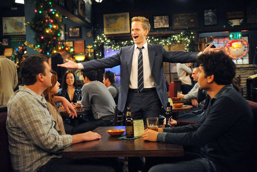 """From left: Jason Segel, Alyson Hannigan, Neil Patrick Harris and Josh Radnor are shown in a scene from CBS's """"How I Met Your Mother."""" (CBS via Associated Press)"""