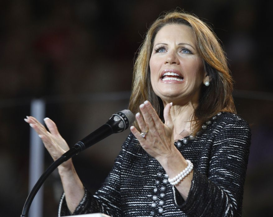 Rep. Michele Bachmann, Minnesota Republican, speaks at Liberty University in Lynchburg, Va., on Wednesday, Sept. 28, 2011. (AP Photo/Steve Helber)