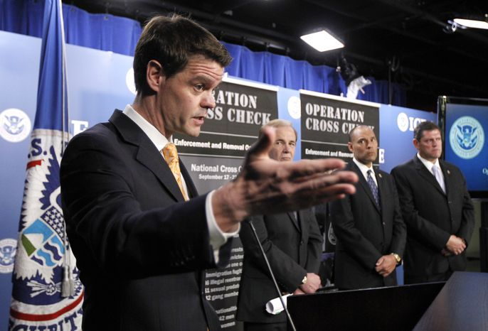 From left: U.S. Immigration and Customs Enforcement (ICE) Director John Morton; Gary Mead, executive associate director for Enforcement and Removal Operations; ICE Deputy Director Kumar Kibble and James Dinkins, executive associate director of Homeland Security Investigations, take part in a news conference to announce results of ICE-led enforcement targeting at-large criminal aliens on Sept. 28, 2011, in Washington. (Associated Press)