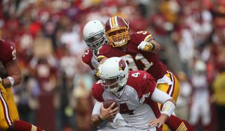 Redskins linebacker Ryan Kerrigan was named the NFL defensive rookie for September. Kerrigan recorded 13 tackles in three games. (Pratik Shah/The Washington Times)