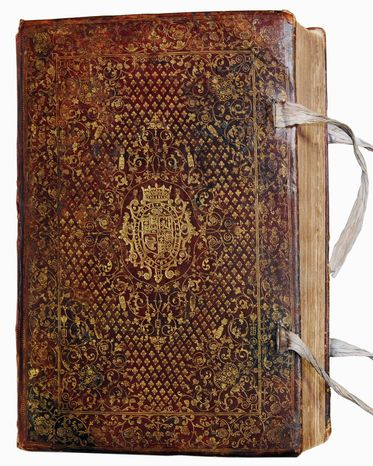 ** FILE ** The massive leather-bound Bible originally owned by King James' son, Prince Henry, is among the historic copies on display. (Folger Shakespeare Library)