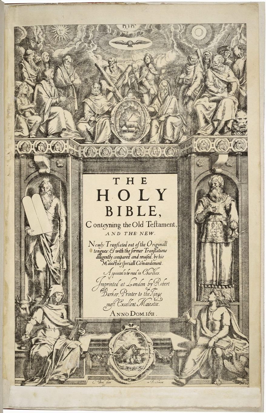 "The 1611 King James Bible is the subject of ""Manifold Greatness,"" a new exhibit at the Folger Shakespeare Library. Seen here is the title page. Translation began in 1604 at the order of England's King James I. (Folger Shakespeare Library)"