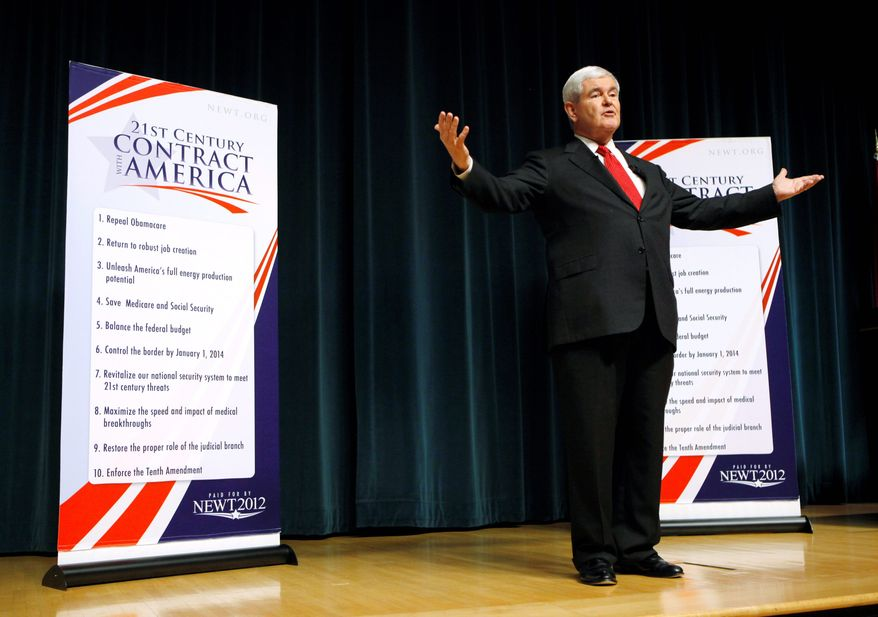 Republican presidential candidate Newt Gingrich outlines his 2012 campaign platform on Thursday, Sept. 29, 2011, in Des Moines, Iowa. (Associated Press)