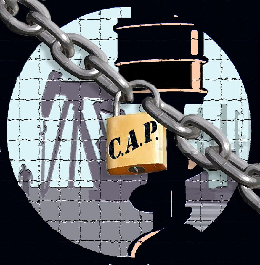 Illustration: Energy CAP by John Camejo for The Washington Times