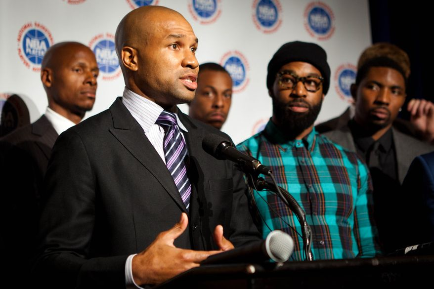 NBA Players Association president Derek Fisher, Los Angeles Lakers point guard, speaks during a news conference after a meeting with owners to discuss a new labor deal and possibly avert a basketball lockout, Friday, Sept. 30, 2011, in New York. Neither side cited any progress but said it was a good sign that they agreed to continue the discussions. NBA players and owners will resume meetings Saturday. (AP Photo/John Minchillo)