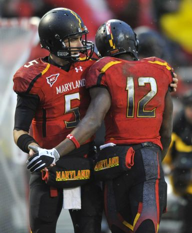 Maryland wide receiver Kevin Dorsey (right) suffered a midseason injury and missed two games, but was a very reliable option this year, amassing 485 yards, two touchdowns and 42 catches. (AP Photo/Gail Burton)
