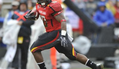 Maryland running back D.J. Adams runs for a touchdown against Towson during the first half of an NCAA college football game, Saturday, Oct. 1, 2011, in College Park. Md. (AP Photo/Gail Burton)