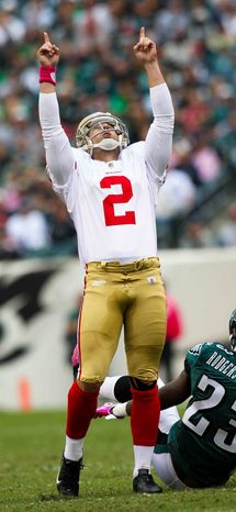 San Francisco 49ers kicker David Akers celebrates after making his first field goal against the Philadelphia Eagles during an NFL football game Sunday, Oct. 2, 2011, in Philadelphia. (AP Photo/The News-Journal, Suchat Pederson)