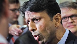 ** FILE ** In this Sept. 12, 2011 file photo, Louisiana Gov. Bobby Jindal speaks in Tampa, Fla. More than a year out from Election Day, all sorts of Republicans, including Jindal, are making a point of keeping themselves in the national spotlight, stoking speculation that they're positioning themselves as potential vice-presidential running mates. (AP Photo/Mike Carlson, File)