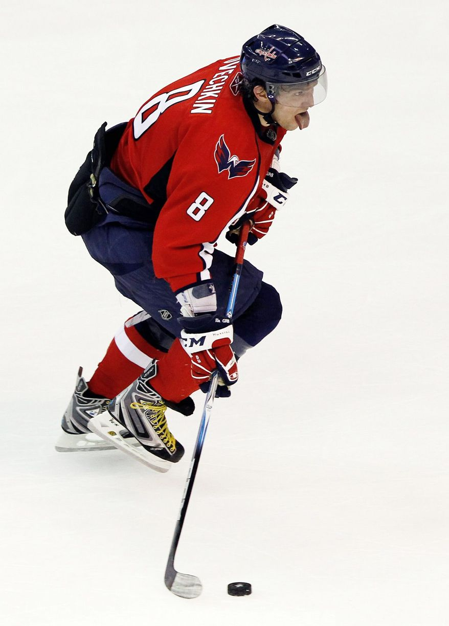 Washington Capitals left wing Alex Ovechkin was benched in the last minute of regulation against the Anaheim Ducks, and was shown to be visibly upset on the bench. (AP Photo/Alex Brandon)