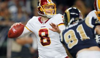 Redskins quarterback Rex Grossman has thrown five interceptions and lost two fumbles through the first four games. (Associated Press)