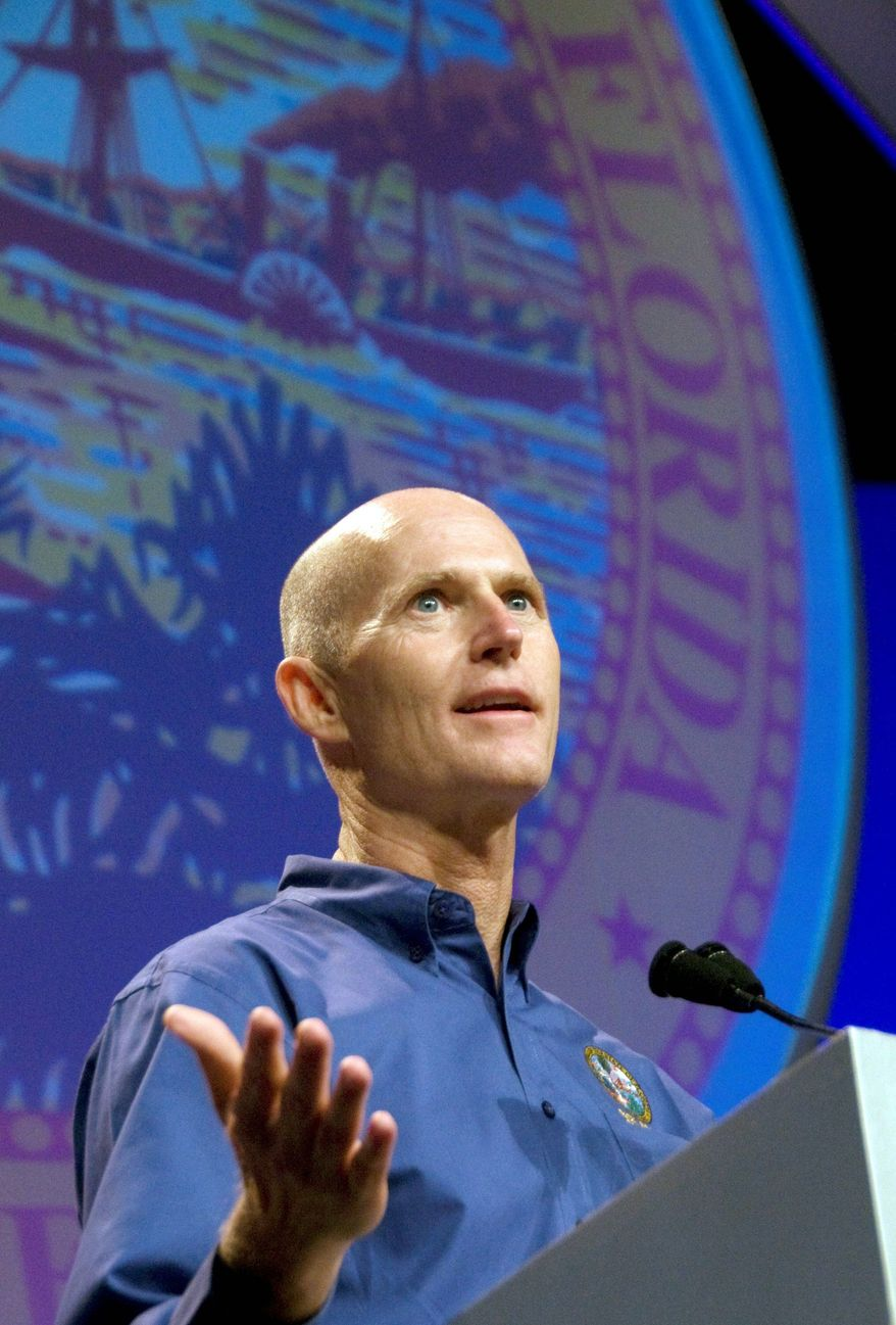 """Florida Gov. Rick Scott, a Republican, knows that voters in the counties in the Interstate 4 corridor are important in presidential and statewide races. """"I think its about 52 percent of the vote,"""" he said. """"You need to win it."""" (Associated Press)"""