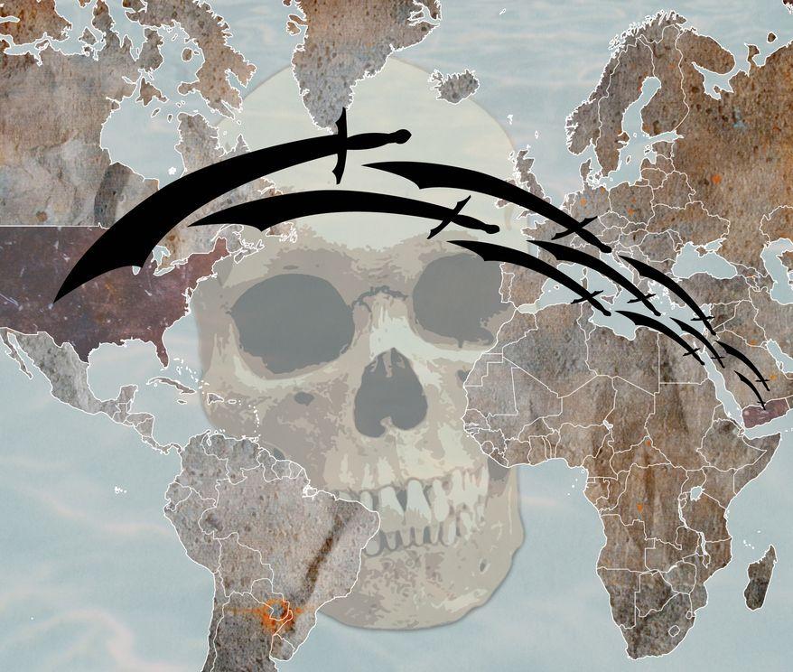 Illustration: Terrorist threat by Greg Groesch for The Washington Times