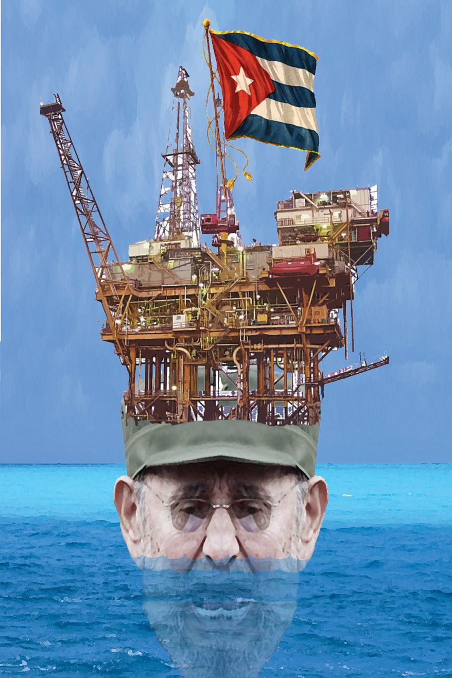 Illustration: Cuba drilling by Alexander Hunter for The Washington Times