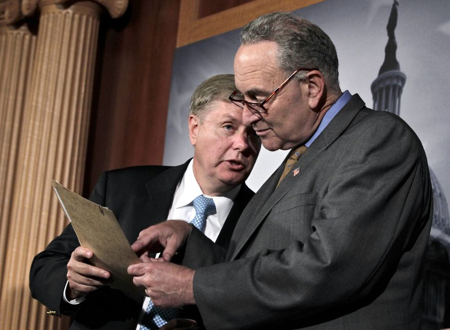 **FILE** Sen. Lindsey Graham (left), South Carolina Republican, confers Oct. 3, 2011, with Sen. Chuck Schumer, New York Democrat, following a vote that clears the way for debate on a bill that would impose tariffs on Chinese imports as a penalty for currency manipulation on Capitol Hill. (Associated Press)