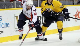 Capitals center Jay Beagle (83) made the NHL roster this season largely because of his commitment to conditioning and nutrition. He'll be counted on for energy bursts to get to loose pucks and to play the body as a skater on the fourth line. (Associated Press)