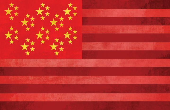 Illustration: China America by Linas Garsys for The Washington Times