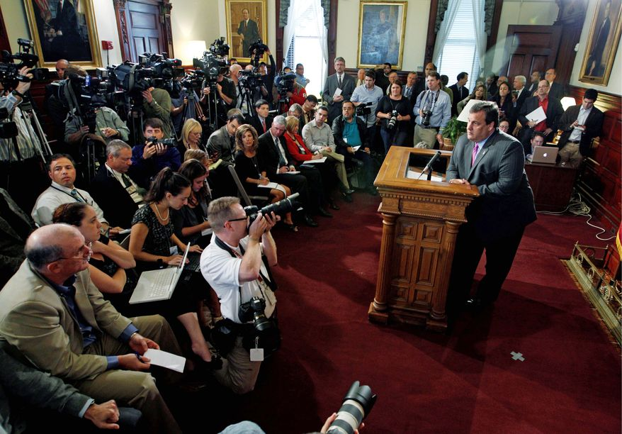 "New Jersey Gov. Chris Christie announces on Tuesday at the Statehouse in Trenton, N.J., that he will not run for president in 2012. ""I have a commitment to New Jersey that I simply will not abandon. That's the promise I made to the people of this state when I took office 20 months ago, to fix a broken New Jersey,"" he said. (Associated Press)"