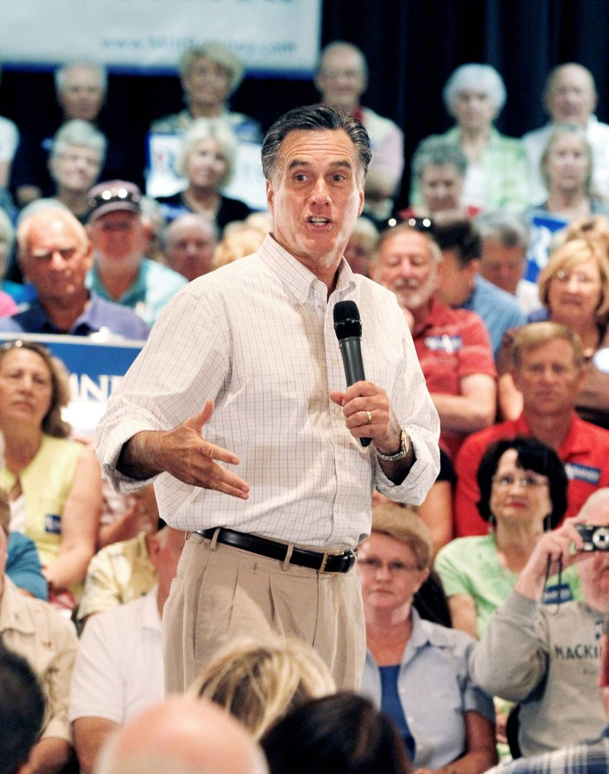 Republican presidential candidate Mitt Romney campaigns in Florida on Tuesday. He said in an interview that anti-capitalism protests on Wall Street won't help solve the nation's problems. (Associated Press)