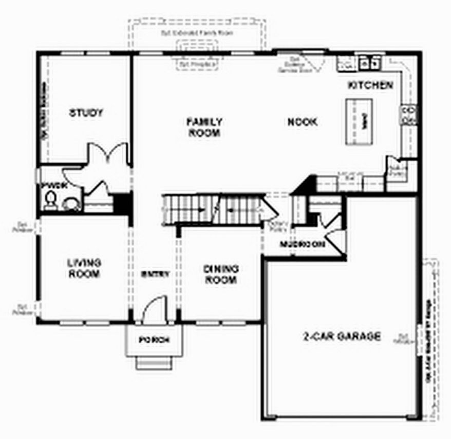 The Daniela model includes a two-story family room open to the breakfast area and center-island kitchen. This level also has a study, a formal living room and a formal dining room. Upstairs are four bedrooms, two full baths and a laundry room.
